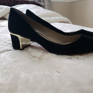 Black suede with gold heel shoes